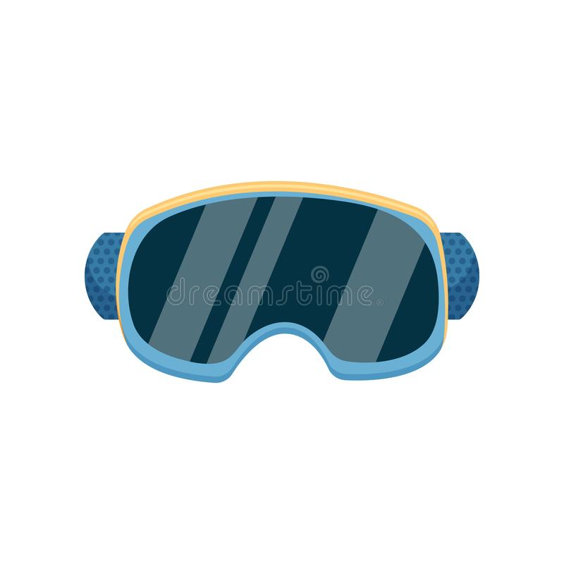 Close-up view of a warm blue ski goggles. Comfortable protective blue ski goggles with durable rubber isolated on a white vector illustration