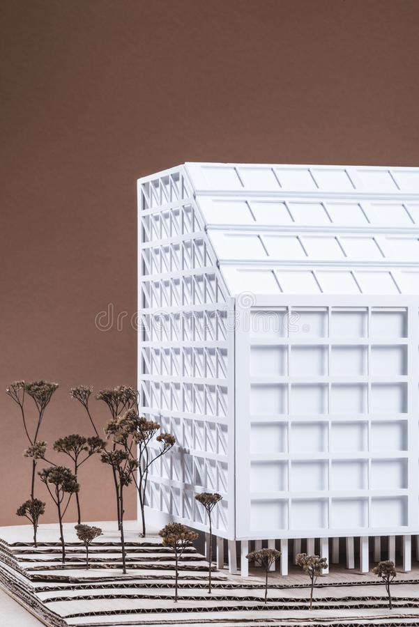 Close up view of white building model with miniature trees. On brown backdrop royalty free stock images