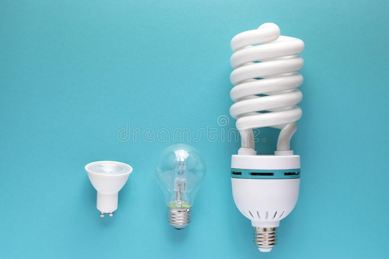 Close up view of white light bulb  stock image