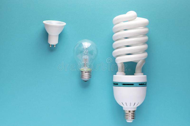 Close up view of white light bulbs  royalty free stock images