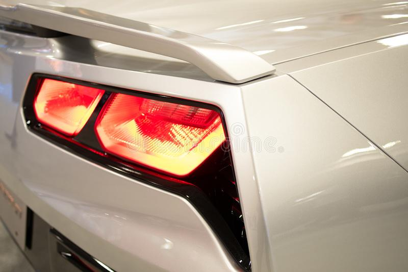 Close-up view of white sports car rear light royalty free stock images