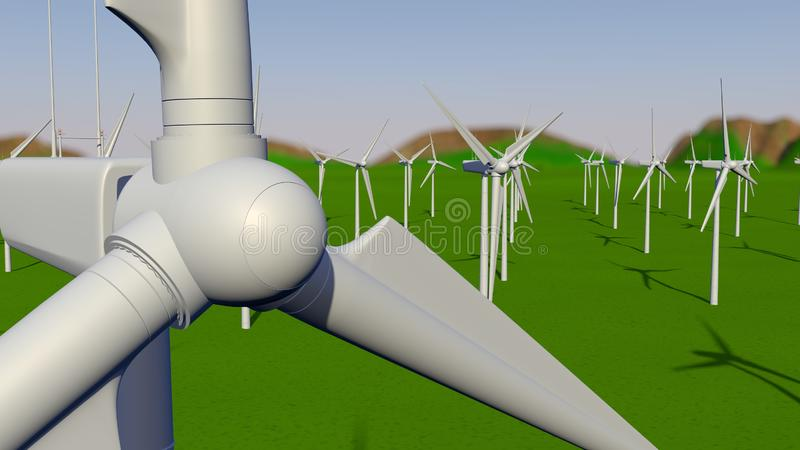 Close-up view of a white wind turbine on a green field during the day with the cloudy blue sky. 3D illustration stock illustration