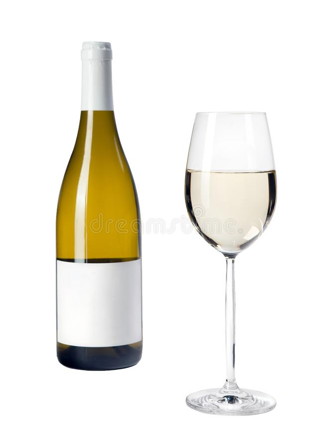 Close-up view of white wine glass and bottle isolated on white. Background. Selective focus royalty free stock photos