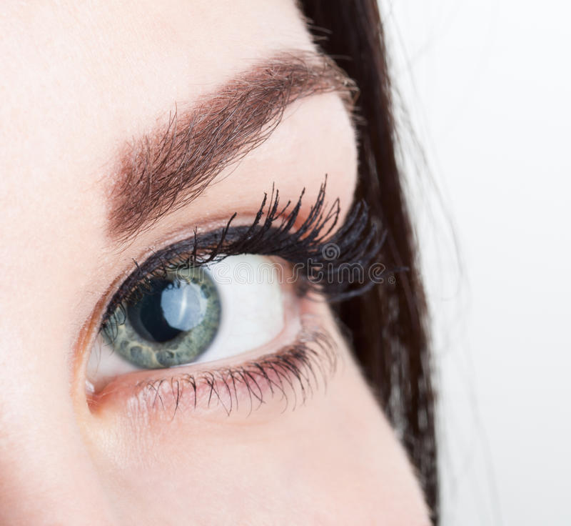 Close up view of woman eye stock photos