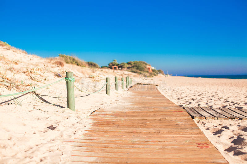Download Close-up View Of A Wood Board Walk In The Beach Stock Image - Image of natural, empty: 35608675