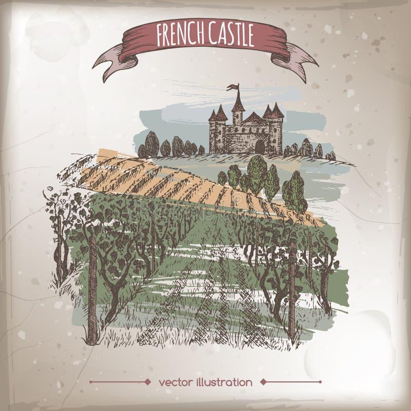 Close up vineyard and castle landscape color vector sketch. Close up vineyard, castle on a hill landscape color hand drawn vector sketch. Great for vine and vector illustration