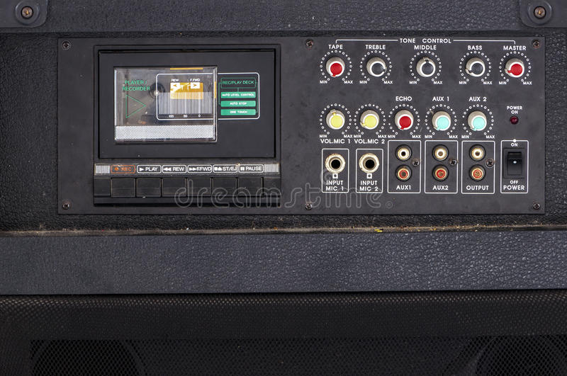 Close up of Vintage audio Karaoke cassette player. stock images