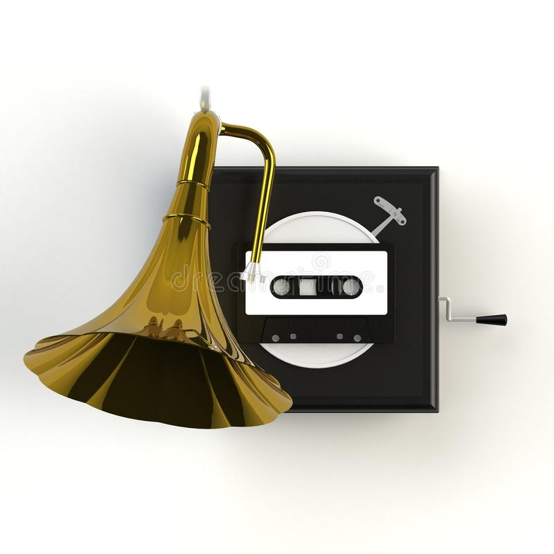 Close up of vintage audio tape cassette with gramophone concept illustration on white background stock illustration