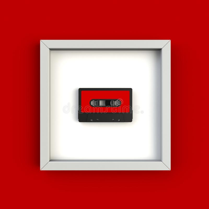 Close up of vintage audio tape cassette in picture frame concept illustration on red background. Top view with copy space, 3d rendering stock illustration