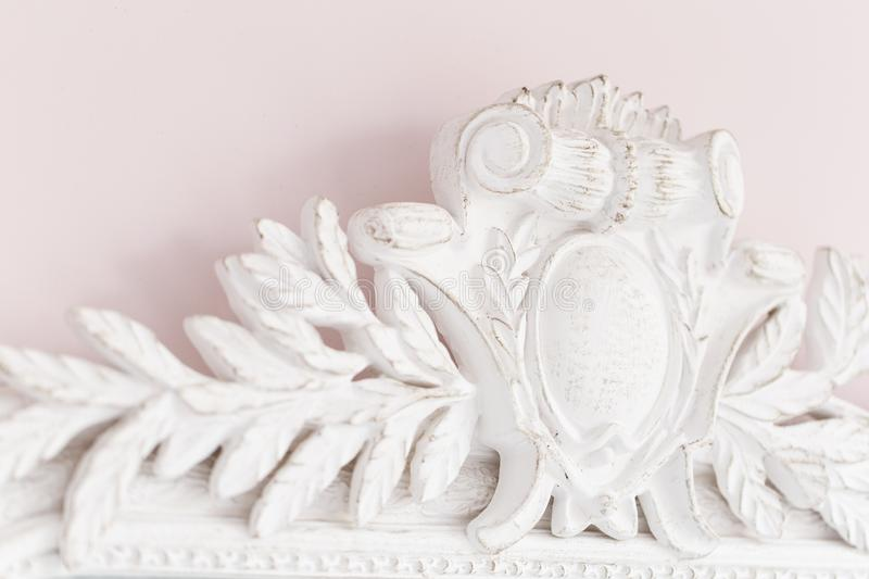 Close-up of a vintage mirror with decorative ornaments stock image