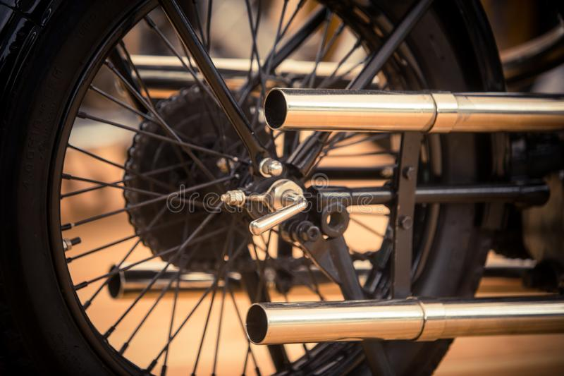 Vintage motorcycle exhaust pipe royalty free stock photo