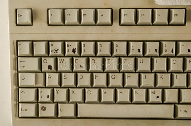 Close-up of vintage pc computer keyboard. Object on a White Background stock image