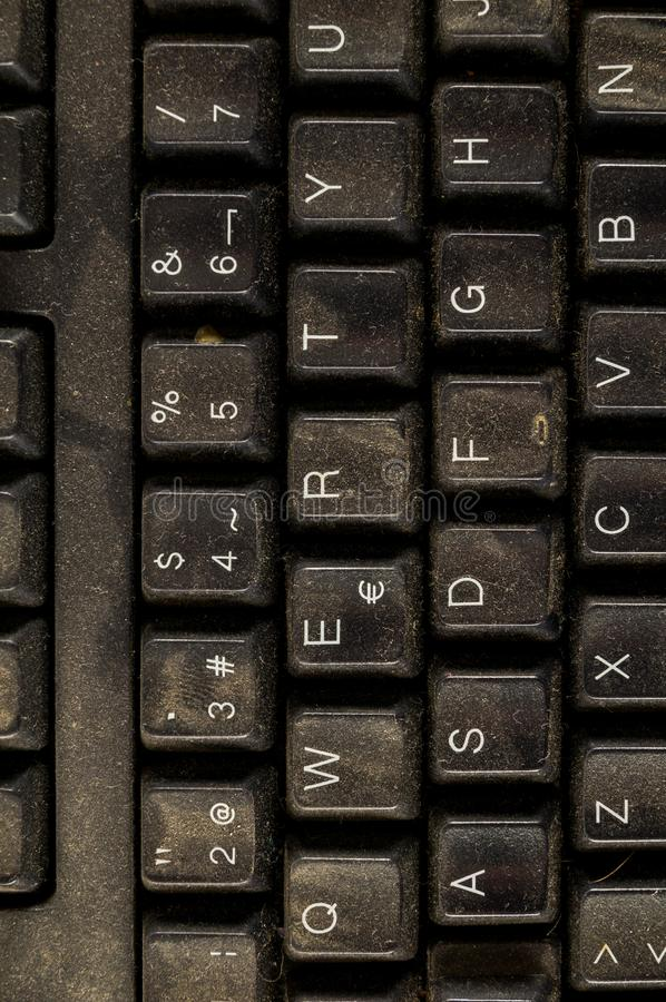 Close-up of vintage pc computer keyboard. Object on a White Background royalty free stock photography