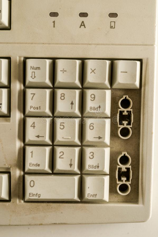 Close-up of vintage pc computer keyboard. Object on a White Background royalty free stock images