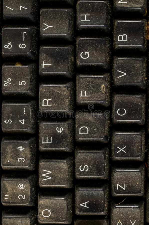 Close-up of vintage pc computer keyboard. Object on a White Background stock photo