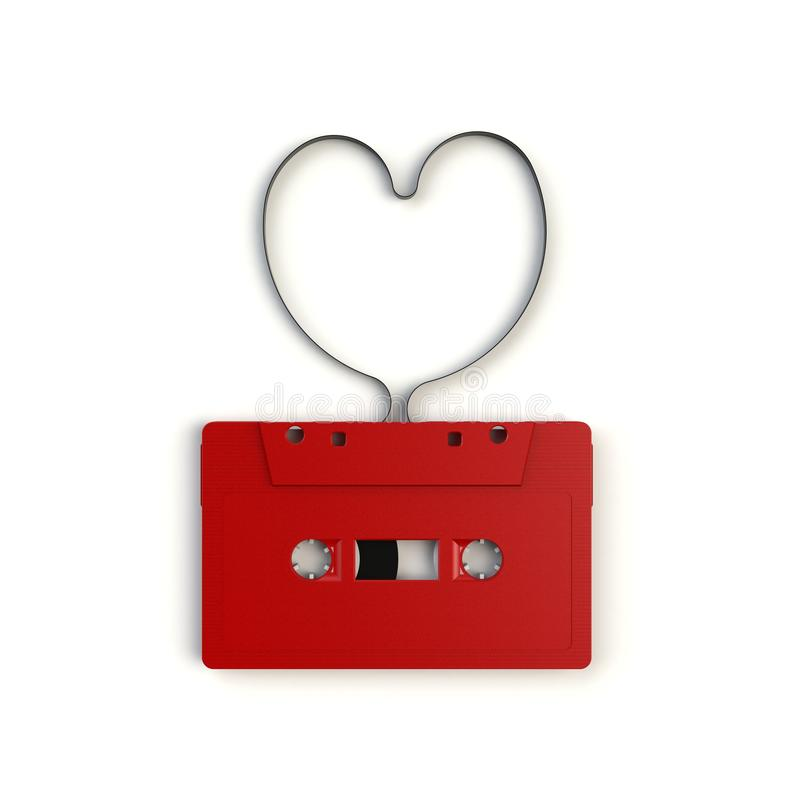 Close up of vintage red audio tape cassette concept illustration on white background, Top view with copy space. 3d rendering vector illustration