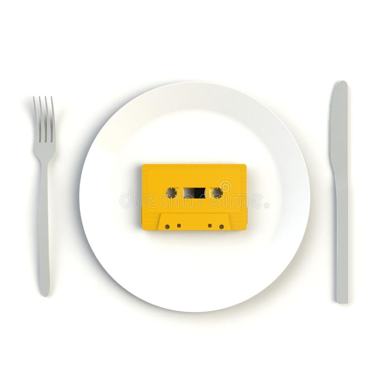 Close up of vintage yellow audio tape cassette on plate, knife and fork on white background, Top view with copy space. 3d rendering vector illustration