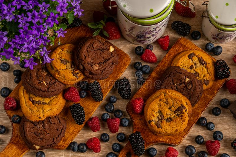 Close up of violet campanula and ceramic jars with cookies and wild berries stock image