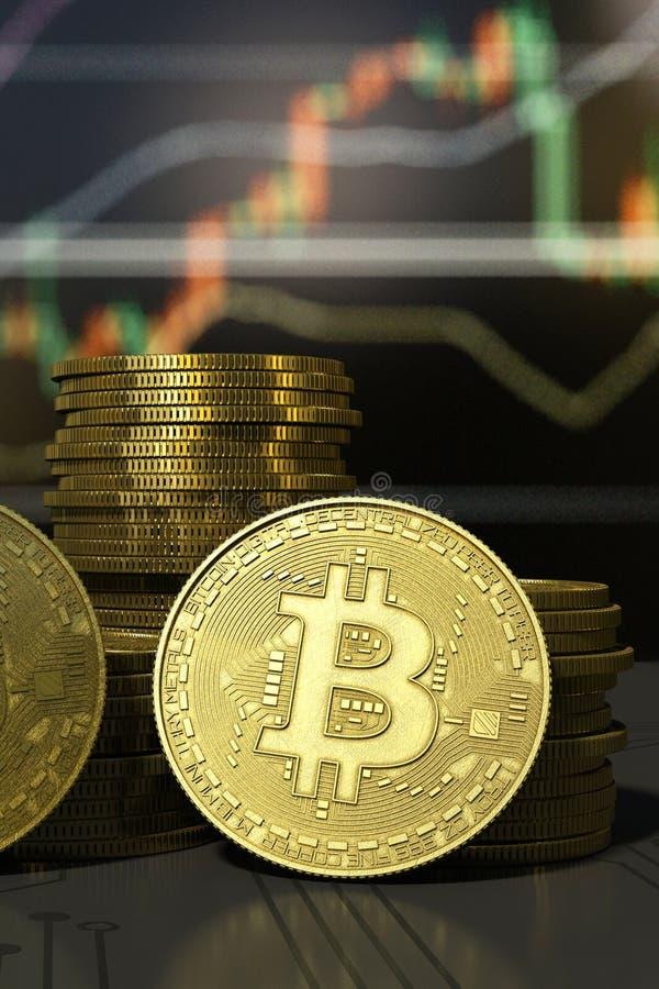 Close-up virtual do dinheiro de Bitcoin do ouro no fundo da carta fotos de stock royalty free