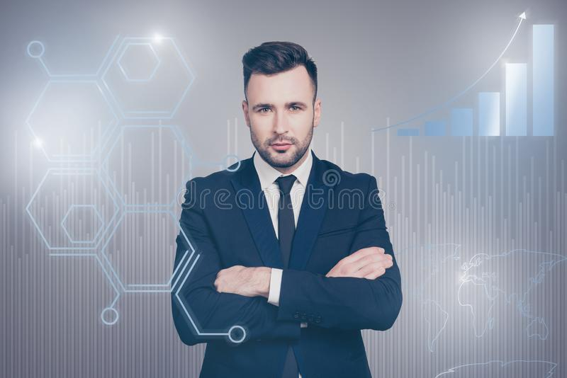 Close up virtual effected creative design stylized graphic poster photo confident he him his guy social marketing. Futuristic pattern presentation show new royalty free stock image