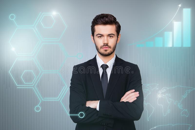 Close up virtual effected creative design stylized graphic poster photo confident he him his guy social marketing. Futuristic pattern presentation show new royalty free stock photo