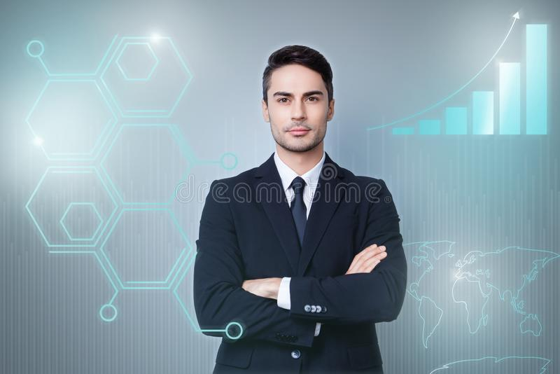 Close up virtual effected creative design stylized graphic poster photo confident he him his guy social marketing. Futuristic pattern presentation show new stock image