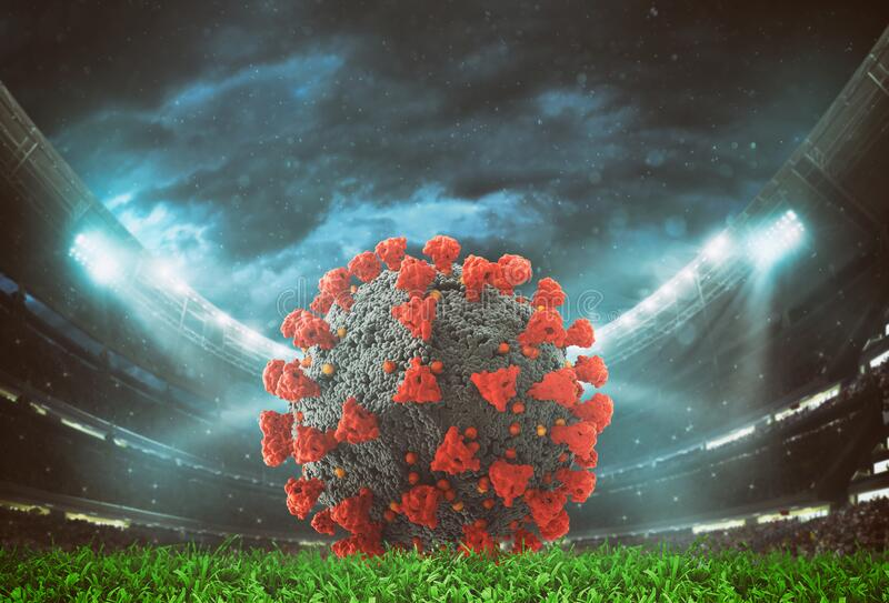Close up of a virus soccerball inside the stadium stock photography