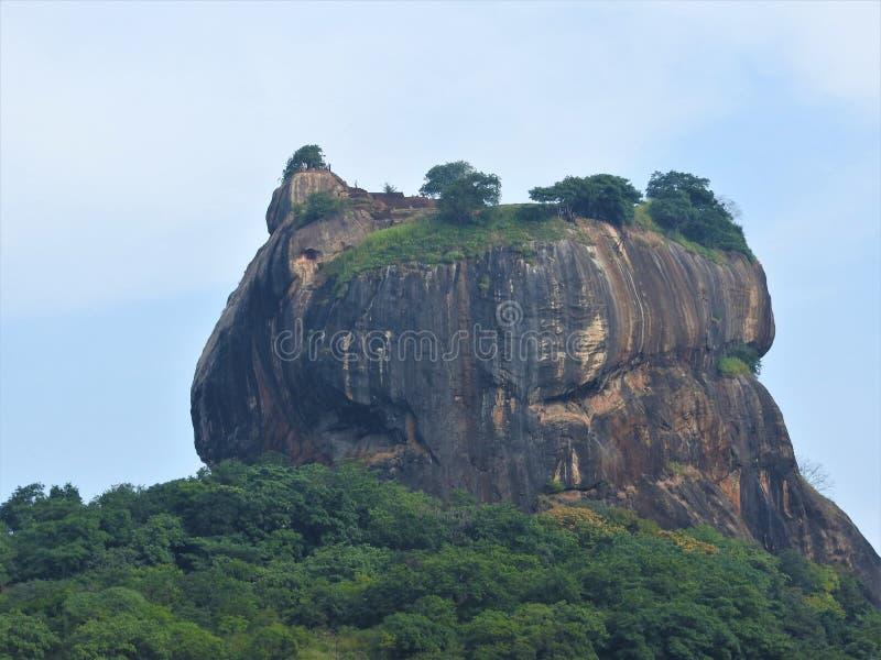 Close-up, vista da fortaleza da montanha do leão de Sigiriya nas hortaliças, Sri Lanka, em um dia claro foto de stock
