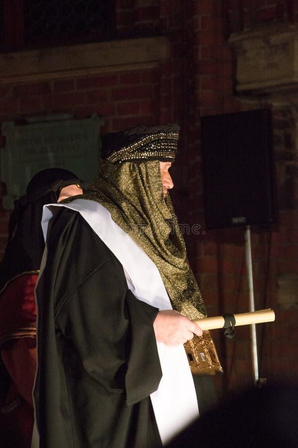 Close-up voor acteur bij historische wederopbouw van bijbelse gebeurtenissen bij nacht Geheimzinnigheid van het Hartstochtsspel v stock foto