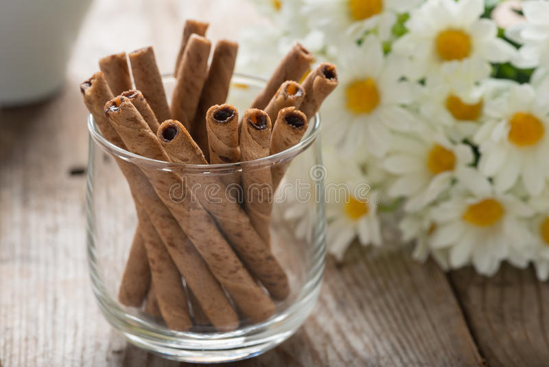Close up, Wafer roll sticks cream rolls in a cup. stock images
