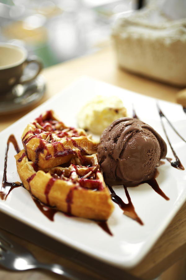 Close up waffle and chocolate icecream. In coffee shop stock photo