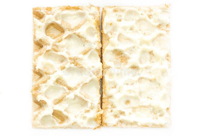 Close-up Waffles With Cream Photo Stock Photos
