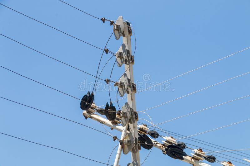 Wall Mounted High Voltage Electric Security Fence Instalation royalty free stock photos