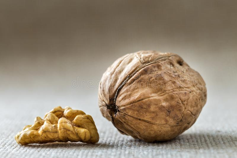 Close-up of walnut in wooden shell and kernels isolated on light copy space background. Healthy organic food concept stock photography