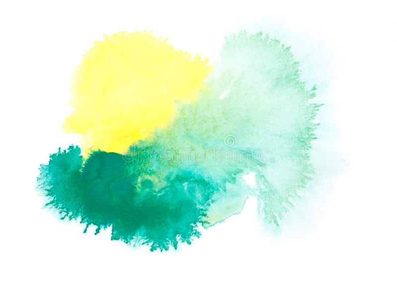 Close up of water color strokes painting on white. Background stock illustration