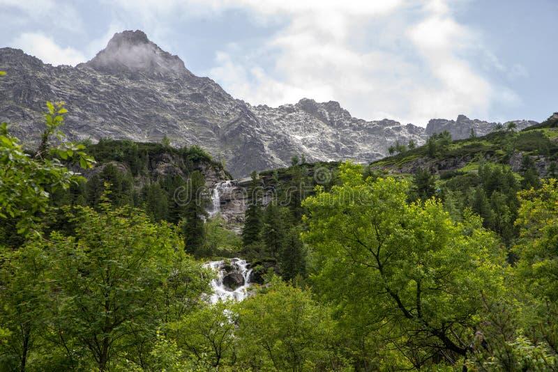 Close up on waterfall at Czarny Staw, Tatra Mountains, poland stock photo