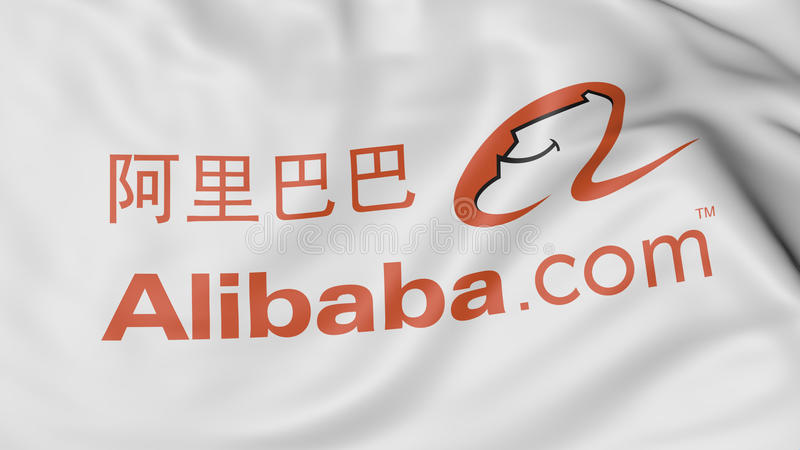 Close up of waving flag with Alibaba.com logo, 3D rendering vector illustration