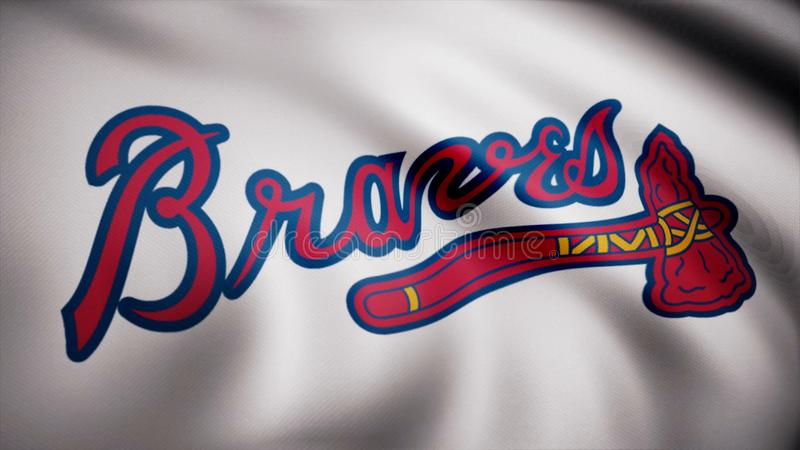 Close-up of waving flag with Atlanta Braves MLB baseball team logo, seamless loop. Editorial animation vector illustration