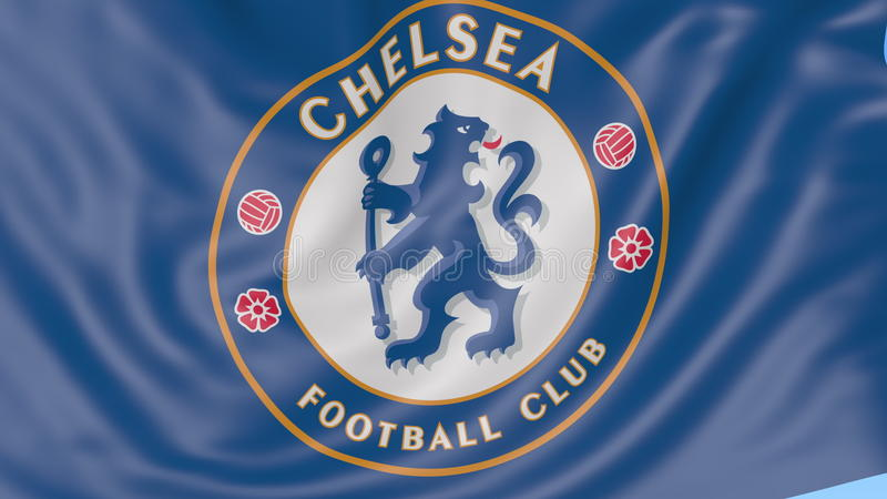 Close up of waving flag with chelsea fc football club logo close up of waving flag with chelsea fc football club logo seamless loop blue background editorial animation 4k stock video video of logo voltagebd Gallery