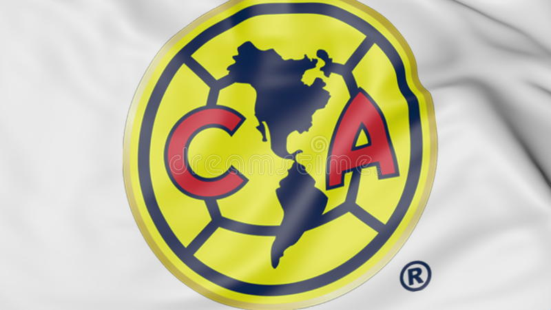 close-up of waving flag with club america football team logo, 3d