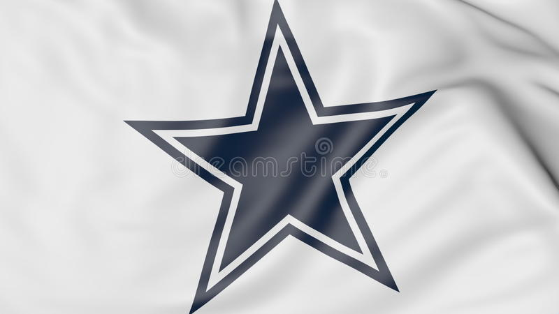 Close-up of waving flag with Dallas Cowboys NFL American football team logo, 3D rendering stock illustration