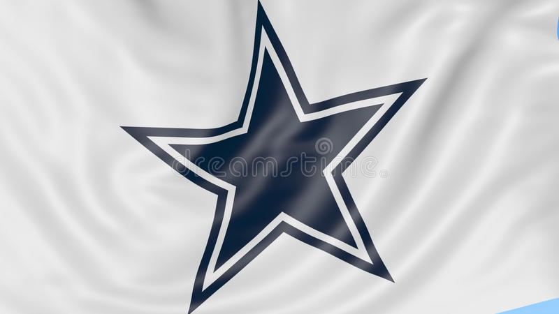 4f3d992a Close-up Of Waving Flag With Dallas Cowboys NFL American Football Team  Logo, Seamless Loop, Blue Background. Editorial Stock Video - Video of  league, ...
