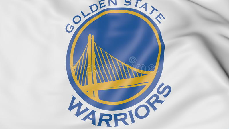 Close-up of waving flag with Golden State Warriors NBA basketball team logo, 3D rendering stock illustration