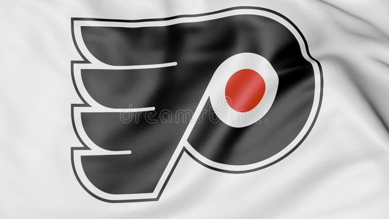 Close Up Of Waving Flag With Philadelphia Flyers Nhl Hockey Team