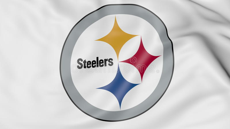 Close-up of waving flag with Pittsburgh Steelers NFL American football team logo, 3D rendering royalty free illustration