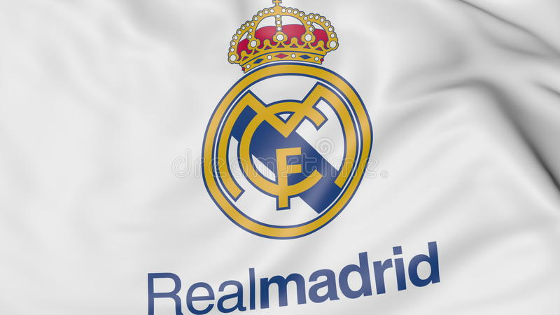 Close up of waving flag with real madrid cf football club logo close up of waving flag with real madrid cf football club emblem russian federation voltagebd Choice Image