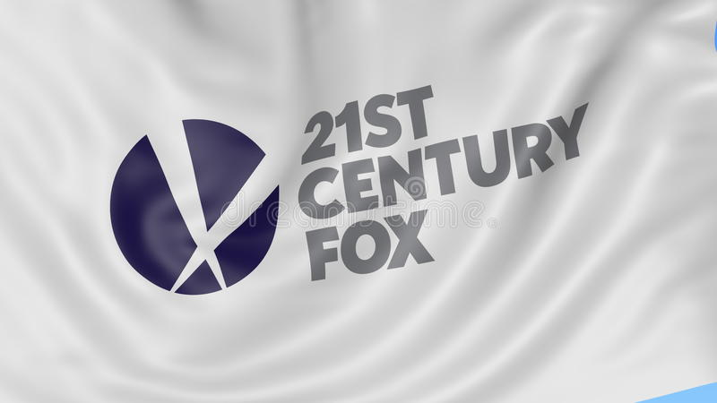 Close up of waving flag with 21st Century Fox logo, seamless loop, blue  background  Editorial animation  4K ProRes