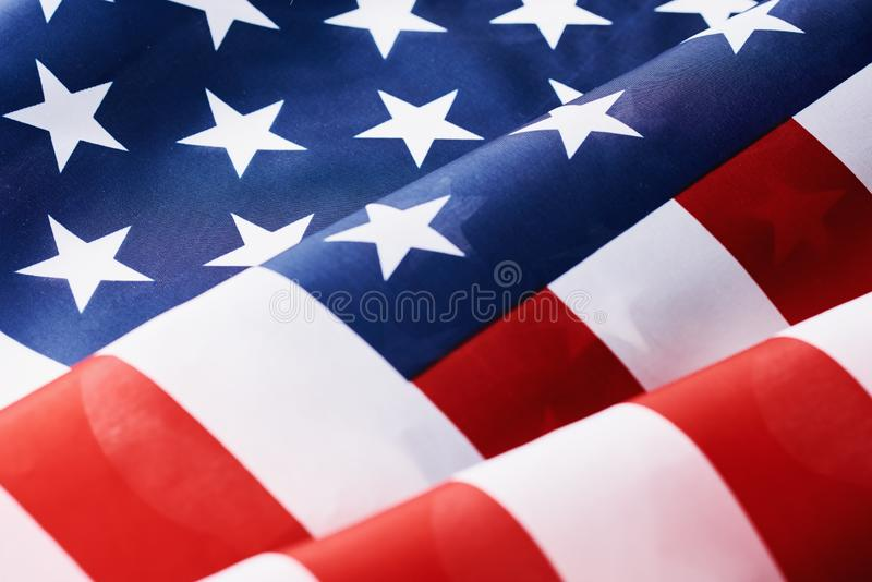 Close up of waving national usa american flag as a background. Concept of Memorial or Independence Day or 4th of July stock photo