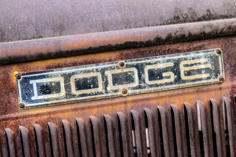 Close up of weathered Dodge truck sign stock image