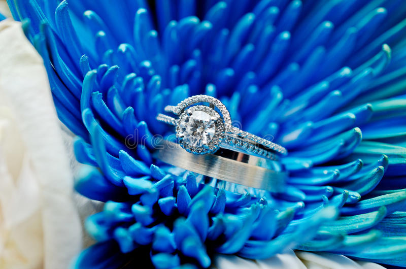 Close-up of wedding rings. On bouquet of flowers stock photos